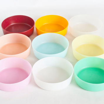 Vintage Tupperware Little Wonders Bowls, Straight Sided Baby Bowls, Snack Storage Containers, Pastel Multi Colored