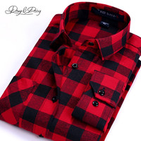 Hot Sale Men Shirts Turn-Down Collar Long Sleeved Comfortable Casual Brand Brushed Flannel Plaid Shirts Camisa Masculina DS-055