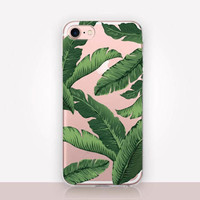Banana Leaves Clear Phone Case - Transparent Case - Clear Case - Transparent iPhone 7 - Clear iPhone 7 Plus - Gel Case - iPhone SE