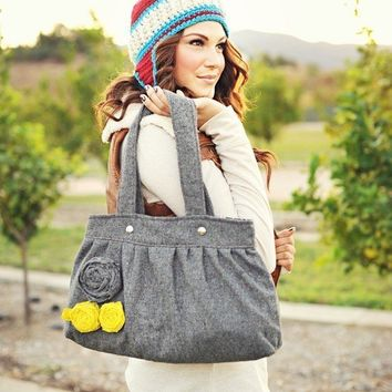 Gray shoulder bag, hand bag, purse, wool, gray, spring, summer, spring, winter LAST ONE