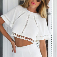 Set Hollow Out Half-sleeve Tops Shorts Bottom & Top [6338850689]