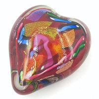 Heart Glass Paperweight Hand Blown Glass in USA SALE Half Price 4L