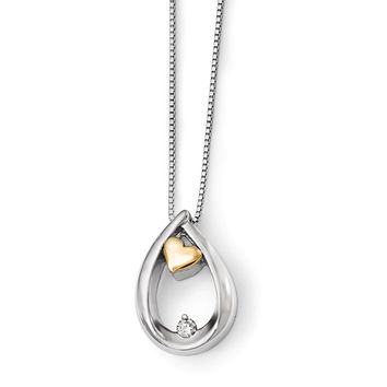 Diamond Teardrop & Heart Necklace in Sterling Silver & 14k Yellow Gold