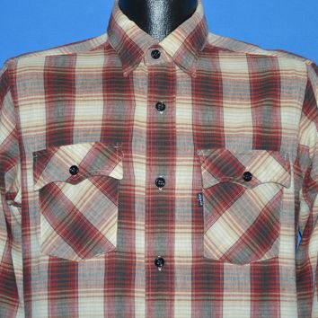 80s Levis Red White Plaid Flannel shirt Medium