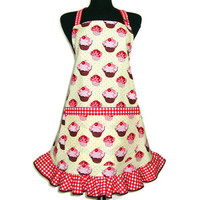 Cupcake Apron, Retro Hostess Style, Butter Cream with Red and White Check Trim