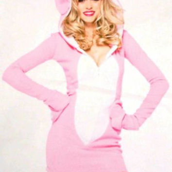 Leg Avenue Bunny Pajamas PJ Dress LS Sexy Halloween Costume Cosplay Pink White
