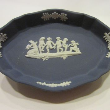 Wedgwood White Portland Blue Tray Silver Oval Design Bass Relief