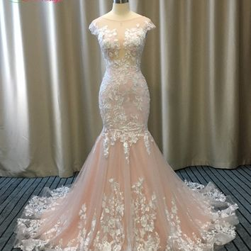 Dream Angel Elegant Appliques Lace Mermaid Wedding Dresses 2017 Sexy Illusion Backless Trumpet China Robe De Mariee Plus Size