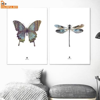 COLORFULBOY Butterfly Dragonfly Canvas Art Print Animal Poster Nordic Wall Art Canvas Painting Wall Pictures For Living Room