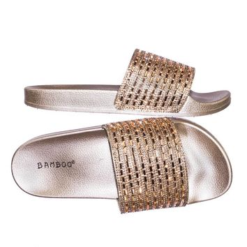 Vibrance01 Rhinestone Jewel Slide In Molded Rubber Footbed Platform Sandal