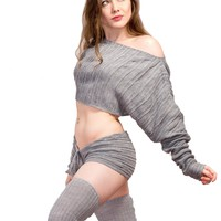 40 Inch Leg Warmers, Sexy Cocoon Crop Shadow Stripe Off Shoulder Top & Low Rise Drawstring Shorts