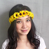 Sunflower Flower Crown , Yellow Flower headband, Coachella, EDC, Bohemian accessories, boho headband