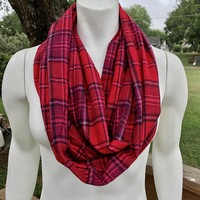 Women's-Flannel-Pink-Red-Plaid-Infinity-Scarf-Handmade-Winter-Chunky-Gifts for Her-Valentine's Day-Accessories