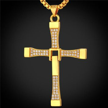 Zirconia Cross Pendant Christian jewelry Gift Gold Color Chain Cross Necklace Men P1685