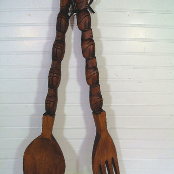 Giant Retro Wooden Spoon Fork Wall Set Vintage Mid Century Boho Kitsch Iconic Huge