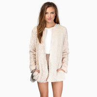 Rose Pattern Long Sleeves Woolen Fur Coat