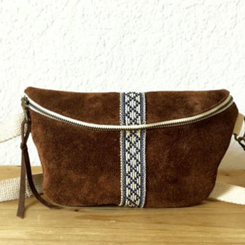 Native Suede Fanny Pack / Belt Bag / Hip Bag / Bum Bag /Hip Satchel / Tribal print/ Bohemian Style