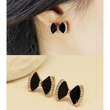 Women Bow Rhinestone Earrings