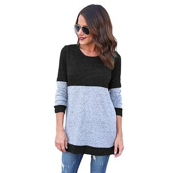 Round Neck  Contrast Shirts with Long Sleeves