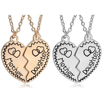 Fashion 2 Colors Half Heat Mother Daughter Letter Puzzle Necklace Family Double Love Heart Pendant Choker Necklaces Jewelry