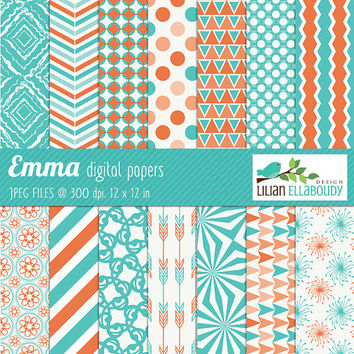 Teal and tangerine commercial use digital papers - Instant download - BUY 2 GET 1 FREE