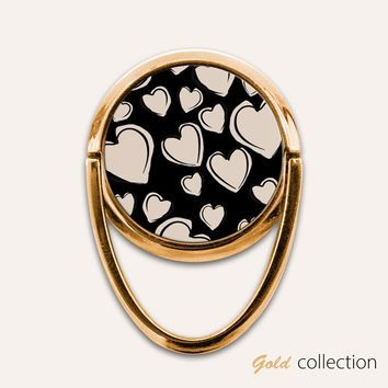 Gold Hearts Phone Ring Finger Holder Mount Stand Grips