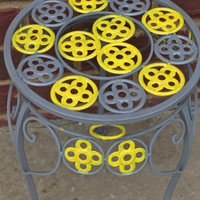 Plant stand yellow gray grey by AquaXpressions on Etsy