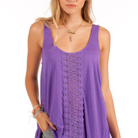 Amy Crochet Detailed Sleeveless Top: Purple