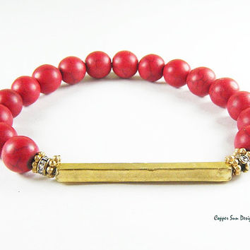 Boho Red Gold Bar Beaded Bracelet, Stretch Bracelet, Stackable, Rustic Artisan Jewelry