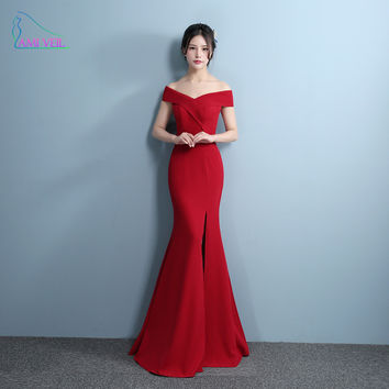 Mermaid Designer Evening Gowns Side Split Red Prom Dress Sexy Long Evening Dresses V Neck Imported Party Vestidos De Gala GQ827