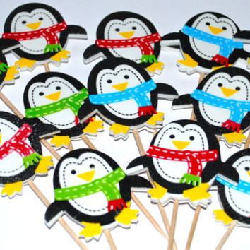 penguin cupcake toppers  set of 12