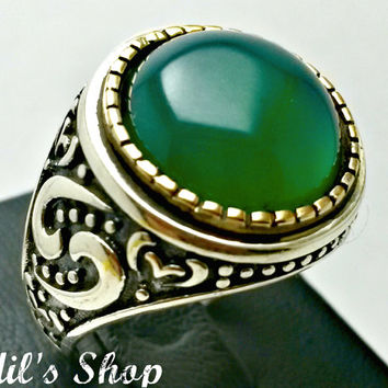 Men's Ring, Turkish Ottoman Style Jewelry, 925 Sterling Silver, Authentic Gift, Traditional Handmade, With Green Agate Stone, US Size 9.5