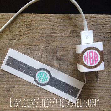 Personalized Glitter iPhone Charger Vinyl Monogram Decal Wrap