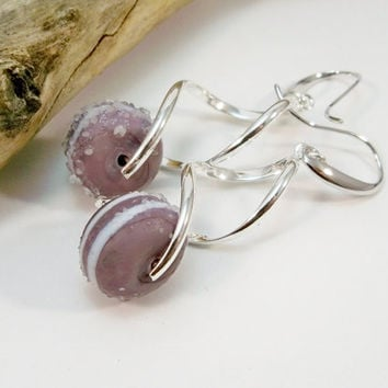 Silver Drop Earrings, Lampwork Bead Earrings, Purple White Silver Plate Earrings, Women's Earrings, Gifts for Her