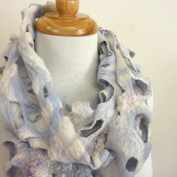 Wool Scarf. Felt Scarves on Etsy. White and Blue Pure Wool Felted Scarf. Snow Gum