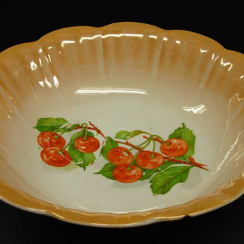 Antique National China Company ELO Ohio Lustreware Porcelain Serving Fruit Bowl Cherries