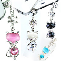 3.5mm Jack Cat Crystal Dust Plug Anti Earphone Cap Stopper For iPhone 6 Samsung = 1929649540