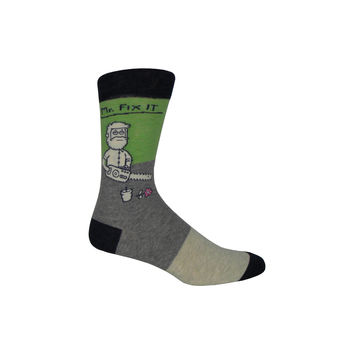 Mr. Fix It Crew Socks in Gray and Green