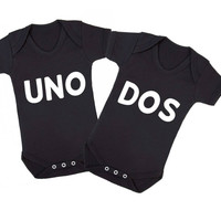 Uno Dos Twins Matching Baby Onesuits