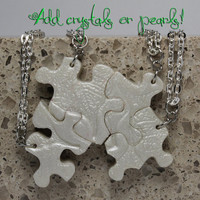 Puzzle Piece Necklace Set of 4 Bridesmaids Necklaces with Swarovski Crystals or Pearls Polymer Leaf Pattern Made To Order