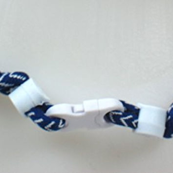 NEW! Youth Size Sports Farm Custom Clasp Tornado Necklace - Navy Blue Baseball Stitch (White Clasp)