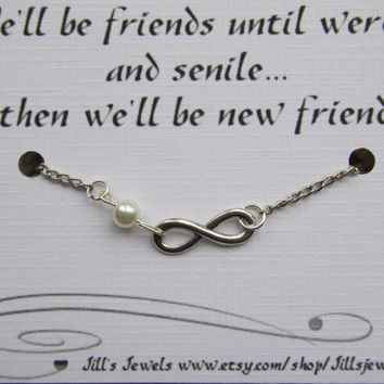 Funny Best Friend Infinity Charm Bracelet with Pearl and Funny Friendship Quote Card -  Friendship Bracelet - Quote Gift