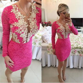 Rose Red Lace Short Cocktail Dresses Long Sleeves Sexy Sheer Back Beaded Homecoming Party Dresses Abendkleider 2017
