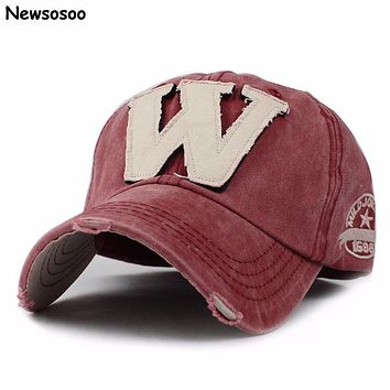Western Fashion Caps 2017 Women's Baseball Caps Casual Brand Designer Letter W Couple Cotton Snapback Caps For Lady Red Gorras