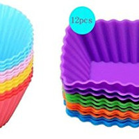 Cutequeen Trading 24pcs (12pcs Round and 12pcs Rectangular) Silicone Baking Cups / Cupcake Liners - 24-pack Vibrant Muffin Molds in Storage Container - Never Buy Paper Cups Again(pack of 24)