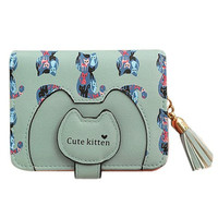 Light Blue Wallet With Kitten Print and Fringe Design