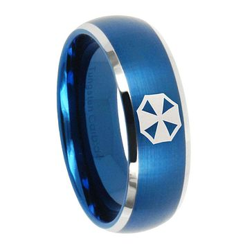 10mm Resident Evil Dome Brushed Blue 2 Tone Tungsten Carbide Men's Wedding Band