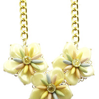 NECKLACE / LARGE LUCITE FLOWER / BIB / PEARL FINISH / HOMAICA STONE / FILIGREE METAL SETTING / CHUNKY LINK / CHAIN / 18 INCH LONG / 3 1/4 INCH DROP / NICKEL AND LEAD COMPLIANT