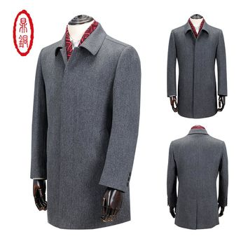 2017 Clothing Mens Wool Silk Trench Coat Cashmere Men Woolen Overcoat Long Peacoat Turn-down Collar windbreaker thick greatcoat