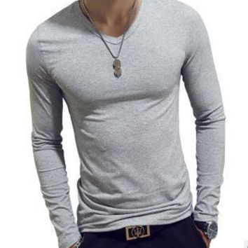 ECTTC 10 Colors Plus Size  Summer&Autumn Fashion Casual Slim Elastic Soft Solid Long Sleeve Men T Shirts Male Fit Tops